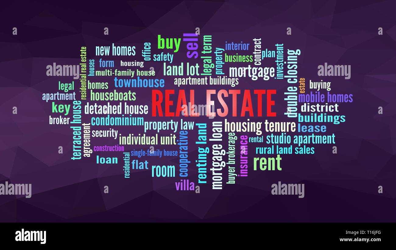 Real Estate Word Cloud, shows words related to property business concept, vector ESP10 - Stock Image