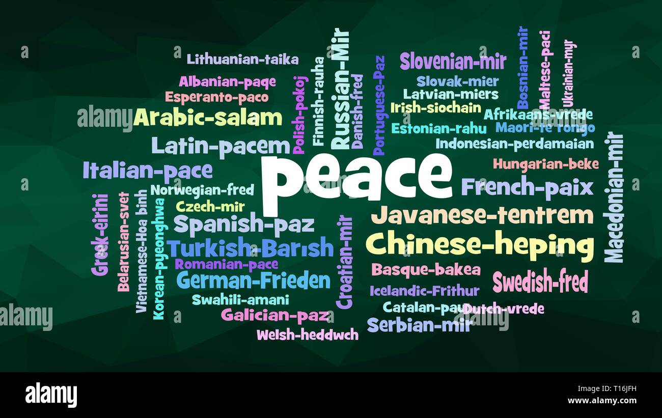 Peace Word Cloud, shows equivalents of 'Peace', how to say it in many languages, vector ESP10 - Stock Image