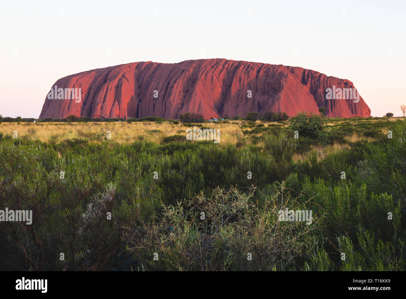 25th December 2018, Sydney NSW Australia : Scenic view of Uluru at sunset on summer day in NT outback Australia - Stock Image