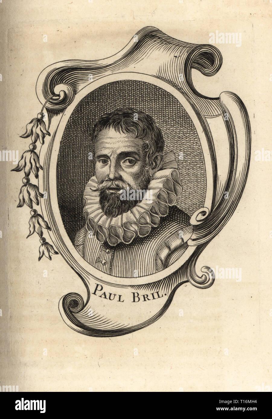 Portrait of Paul Bril, Flemish painter and printmaker 1554-1626. Copperplate engraving from Antoine-Joseph Dezallier d'Argenville's Abrege de la vie des plus fameux peintres, Lives of the most Famous Artists, de Bure l'Aine, Paris, 1762. - Stock Image
