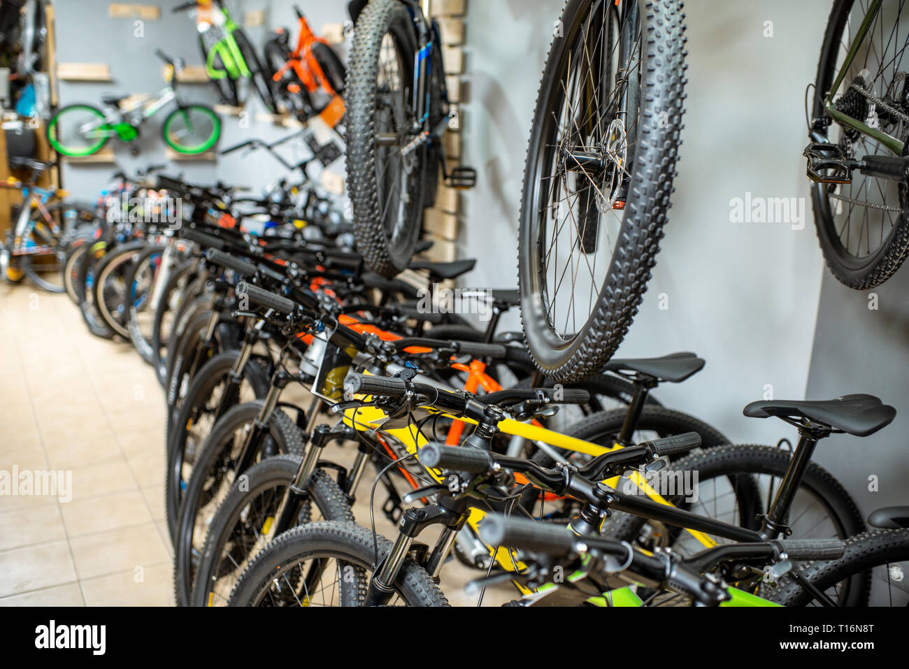 Lots of a new bicycles in the store - Stock Image