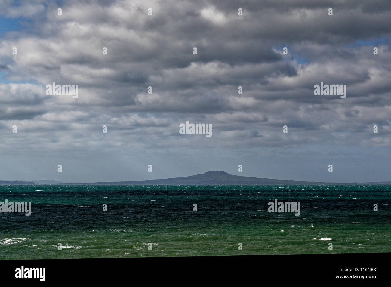 Rangitoto Island, a volcanic island in Gulf Harbour, near Auckland, New Zealand - Stock Image