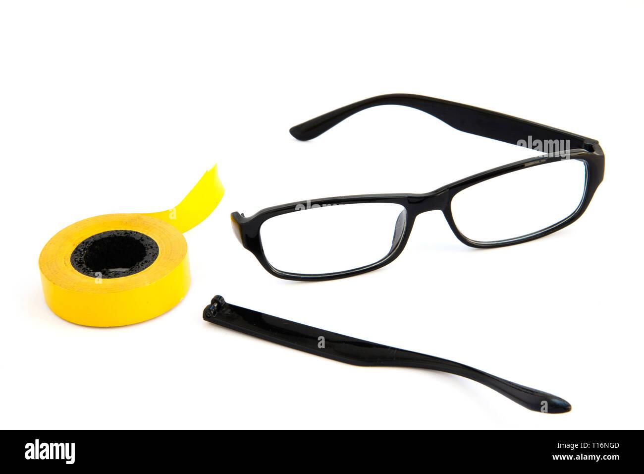 Broken Eye Glasses Isolated On White Background Black