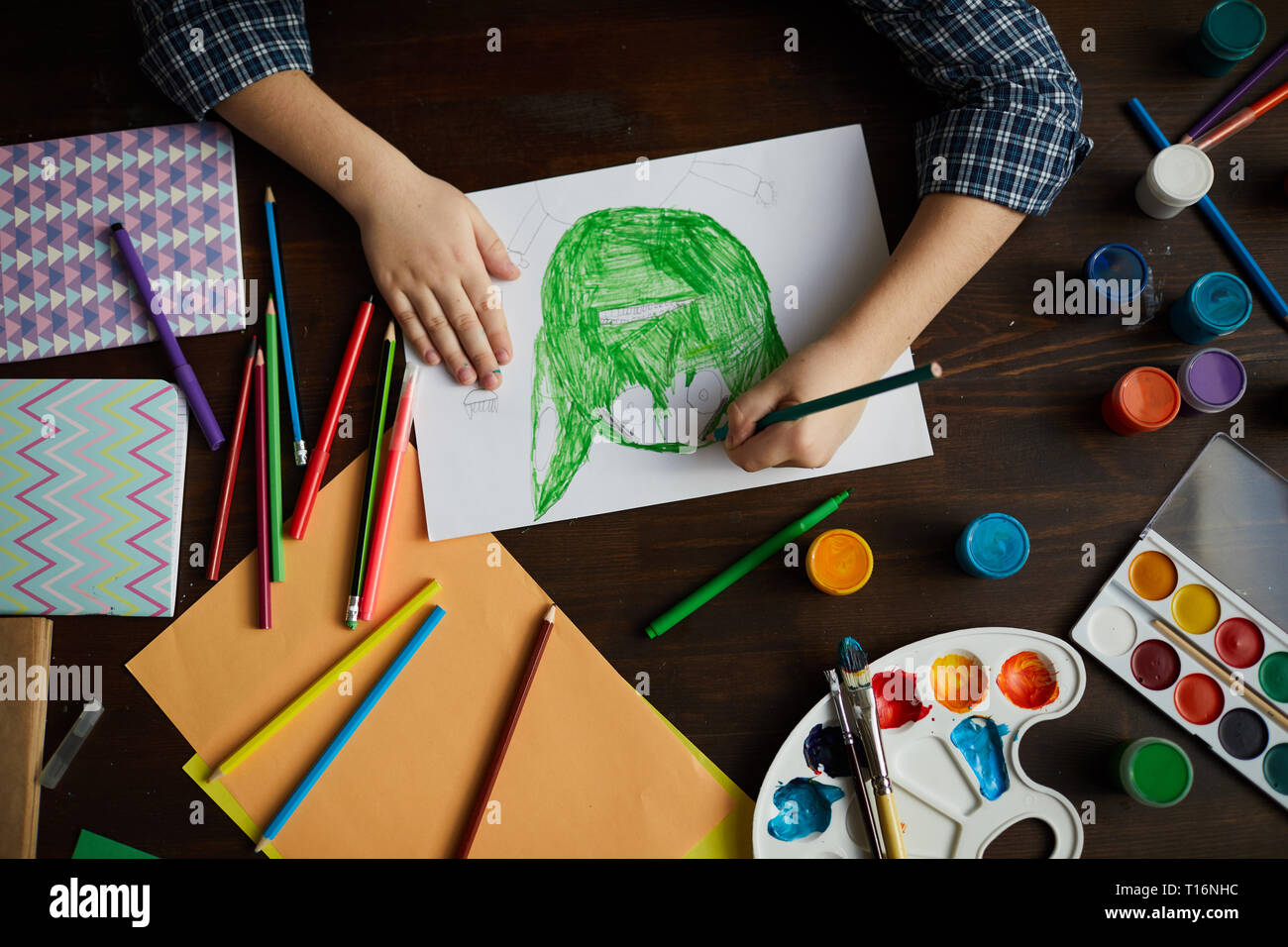 Little Boy Drawing Monster - Stock Image