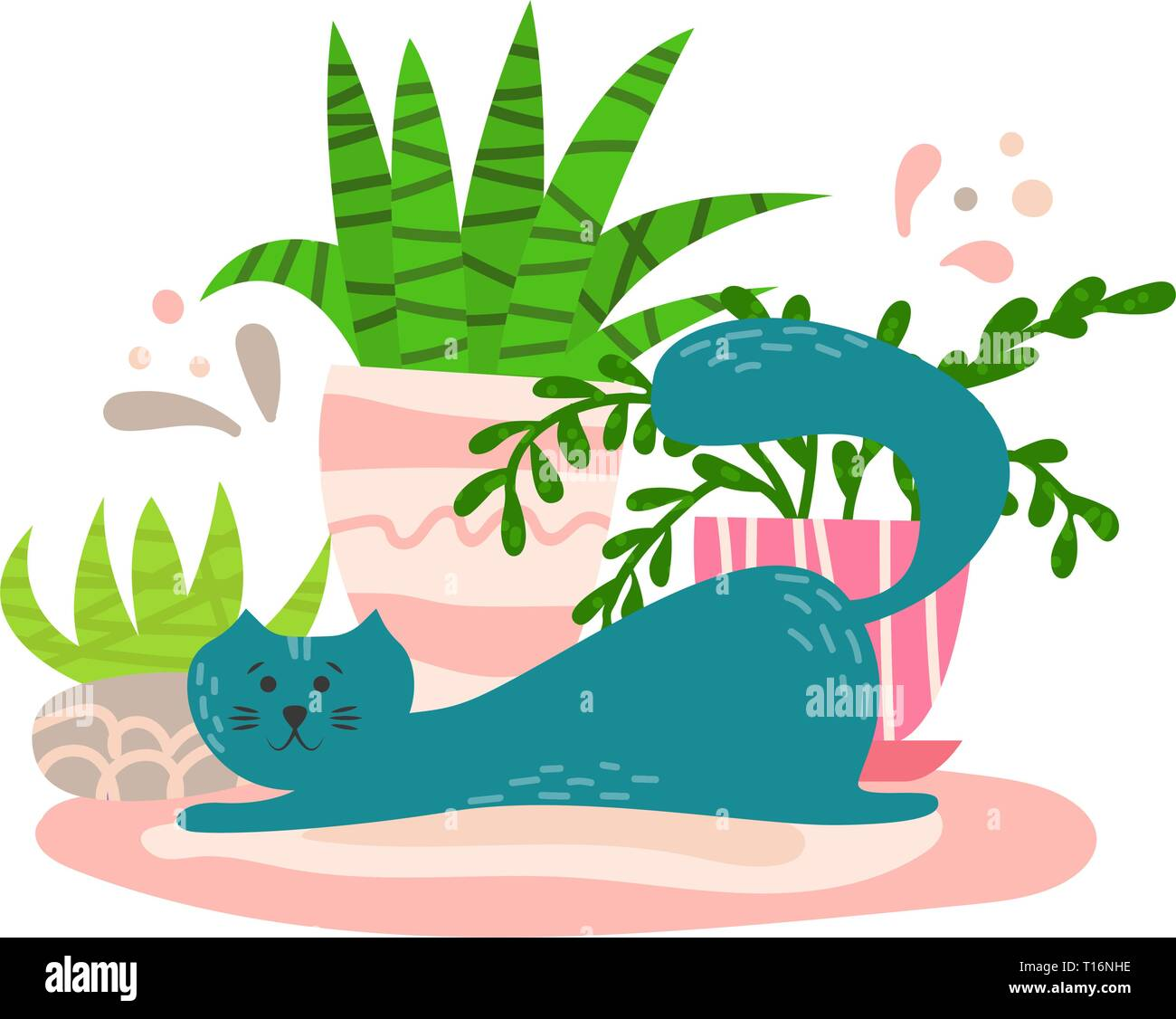 Enjoyable Cute Playful Cat With House Plants In Cartoon Flat Style Home Interior And Landscaping Synyenasavecom