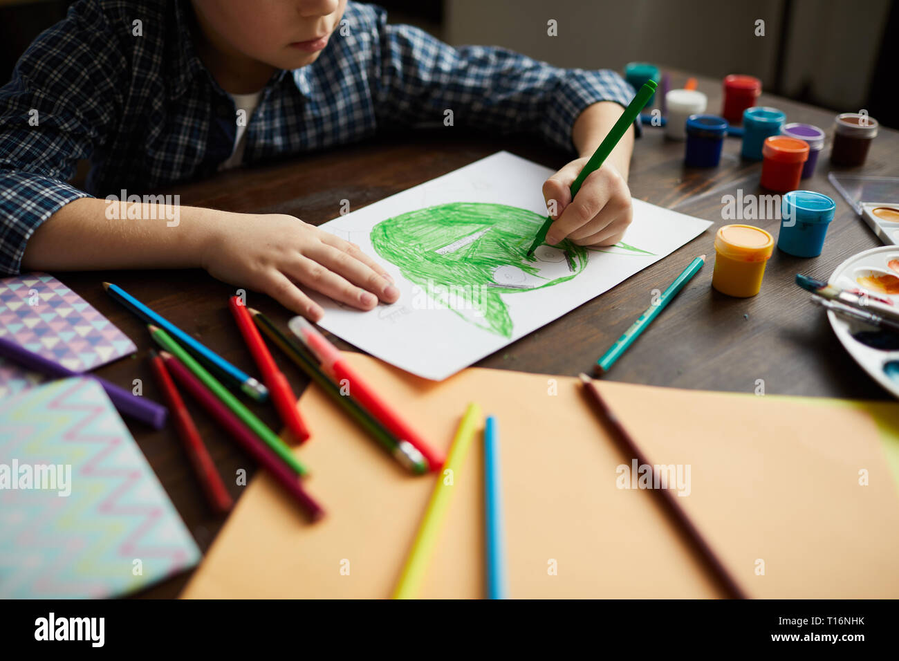 Boy Drawing Monster - Stock Image