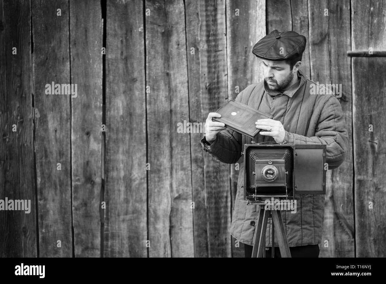 Photographer prepares for shooting and inserts film holder into retro large format camera. Concept - photography of the 1930s-1950s, monochrome effect - Stock Image