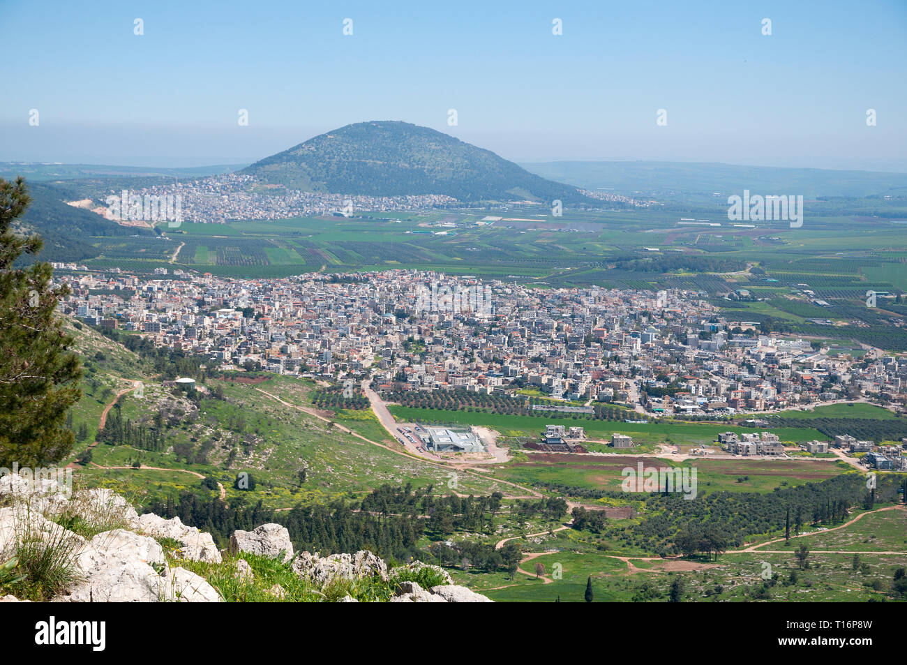 Mount Precipice and a view of Jezreel Valley Stock Photo