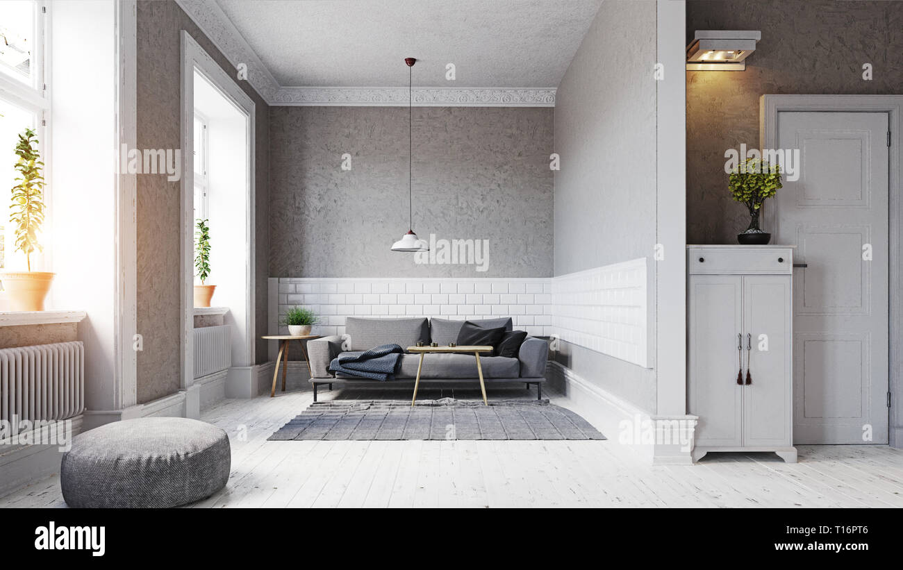 Modern Scandinavian Style Living Room Interior Design 3d Illustration Concept Stock Photo Alamy
