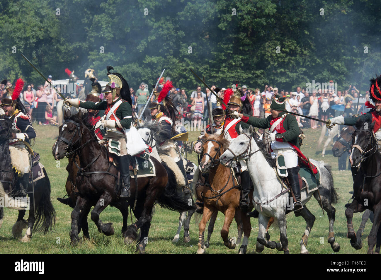Waterloo, Belgium - June 18 2017: A cavalry charge during the re-enactment of the battle at Waterloo. - Stock Image