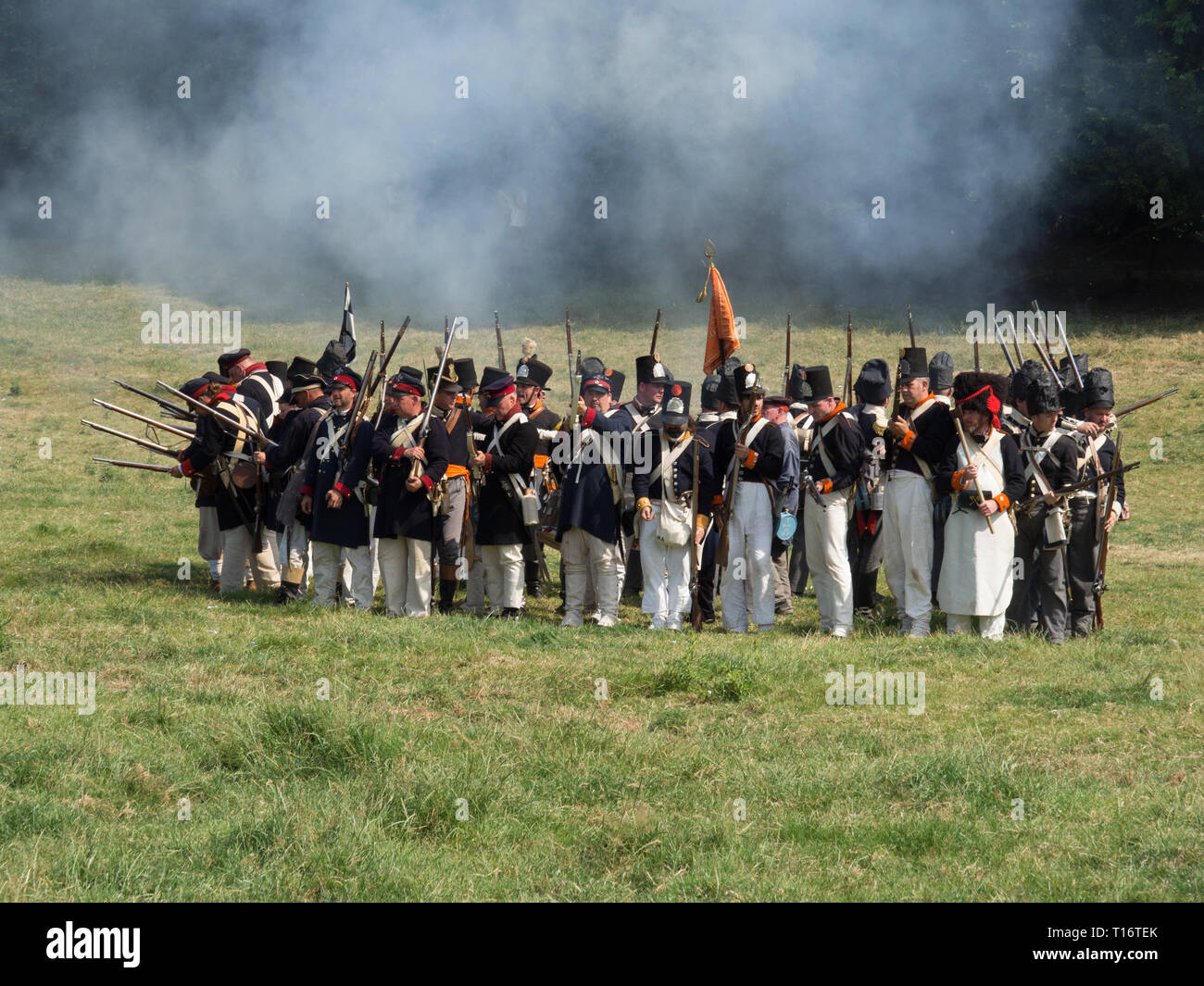 Waterloo, Belgium - June 18 2017: Dutch troops stand in a square formation as a defense against a cavalry charge during the re-enactment of the battle - Stock Image