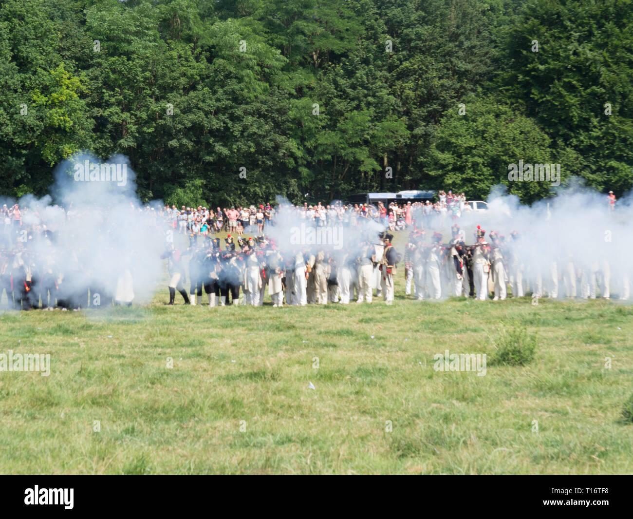 Waterloo, Belgium - June 18 2017: French soldiers firing - Stock Image