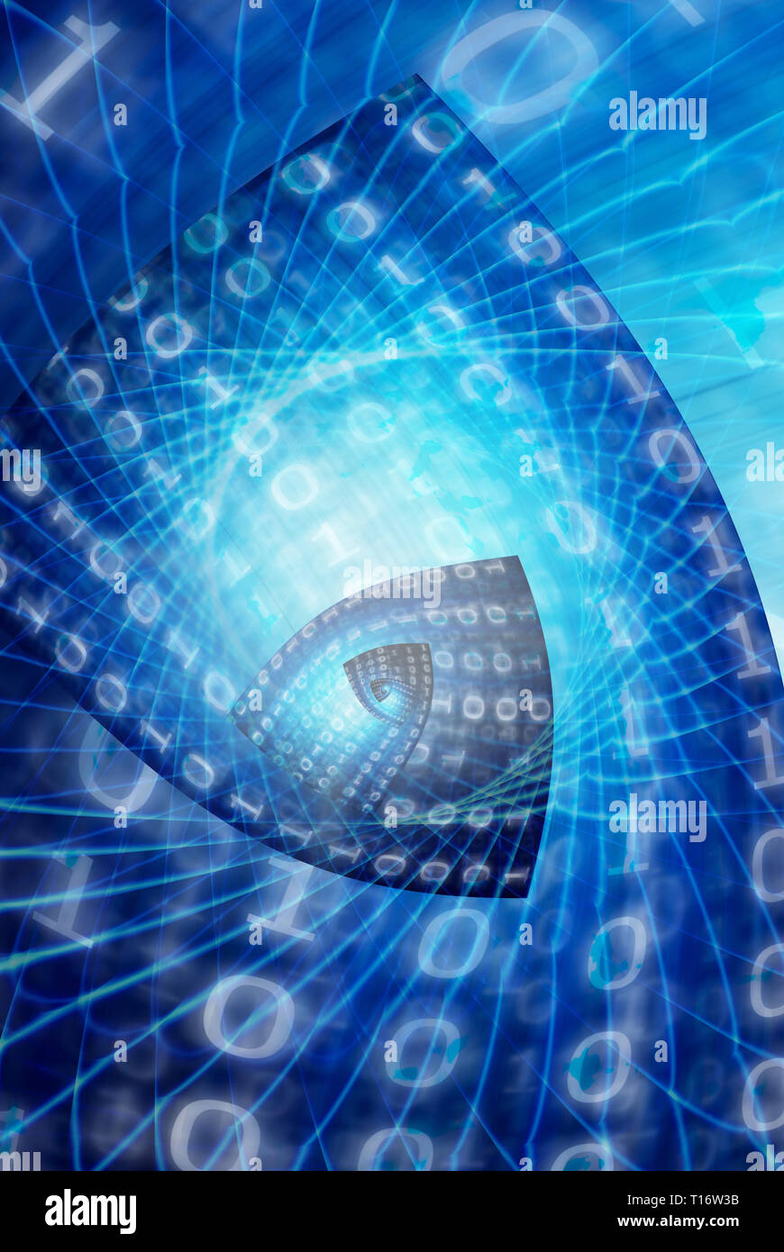spiral of binary data, cyberspace and big data concept - Stock Image