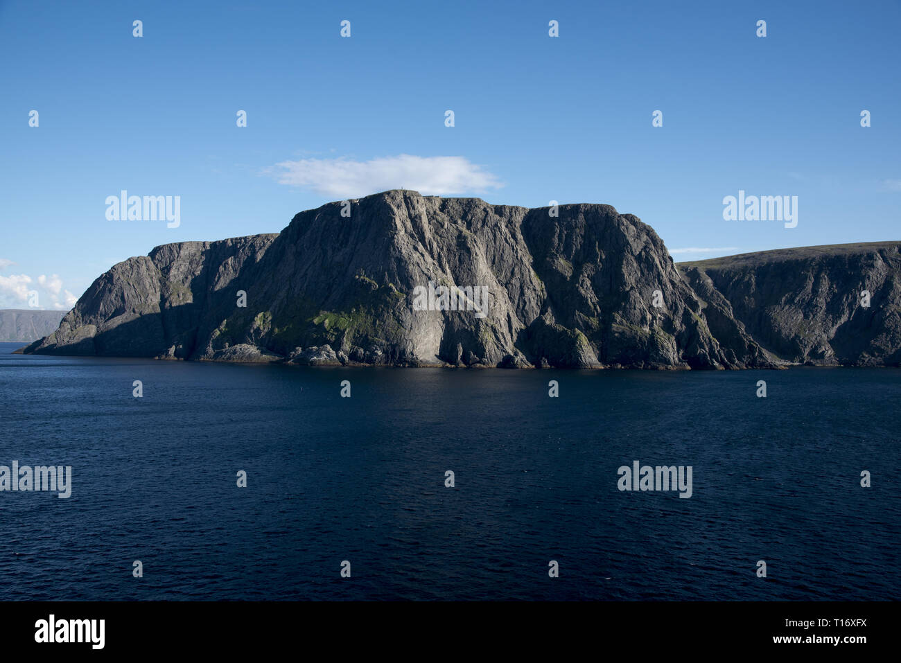 North Cape is an extremely touristic hotspot on Magerøya Island in Norhern Norway. Stock Photo