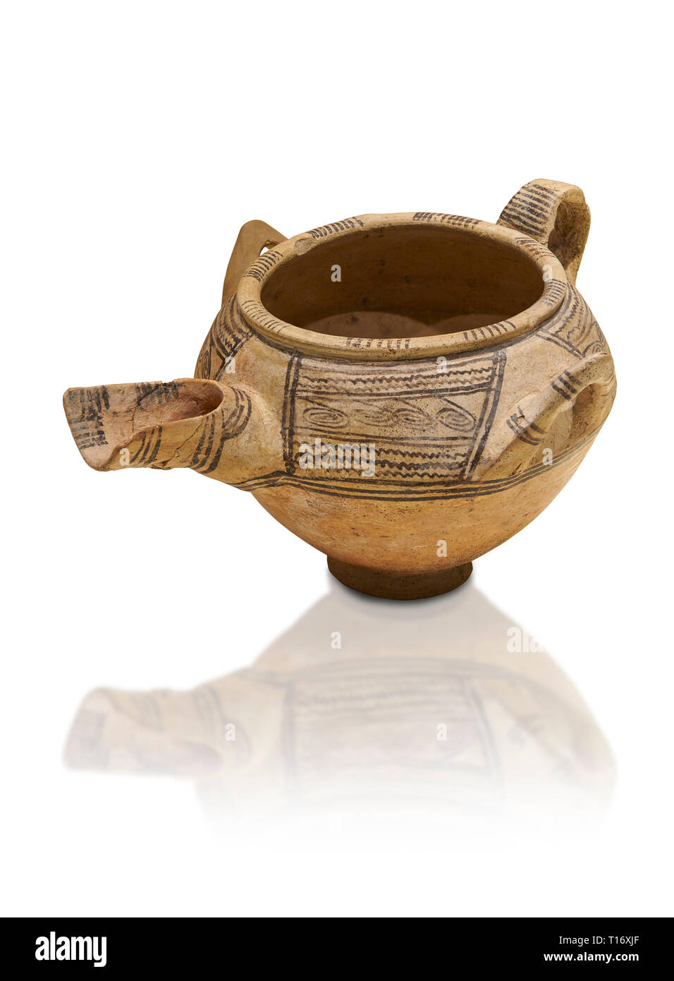Decorated terra cotta tree handled vessel with a spout - 19th to 17th century BC - Kültepe Kanesh - Museum of Anatolian Civilisations, Ankara, Turkey. - Stock Image