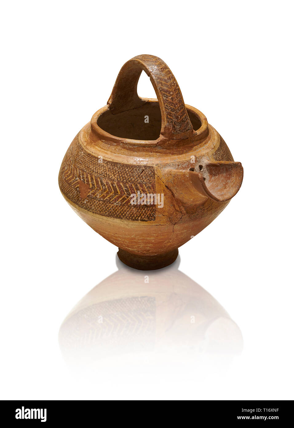 Bronze Age Anatolian decorated terra cotta tea pot with strainer - 19th to 17th century BC - Kültepe Kanesh - Museum of Anatolian Civilisations, Ankar - Stock Image