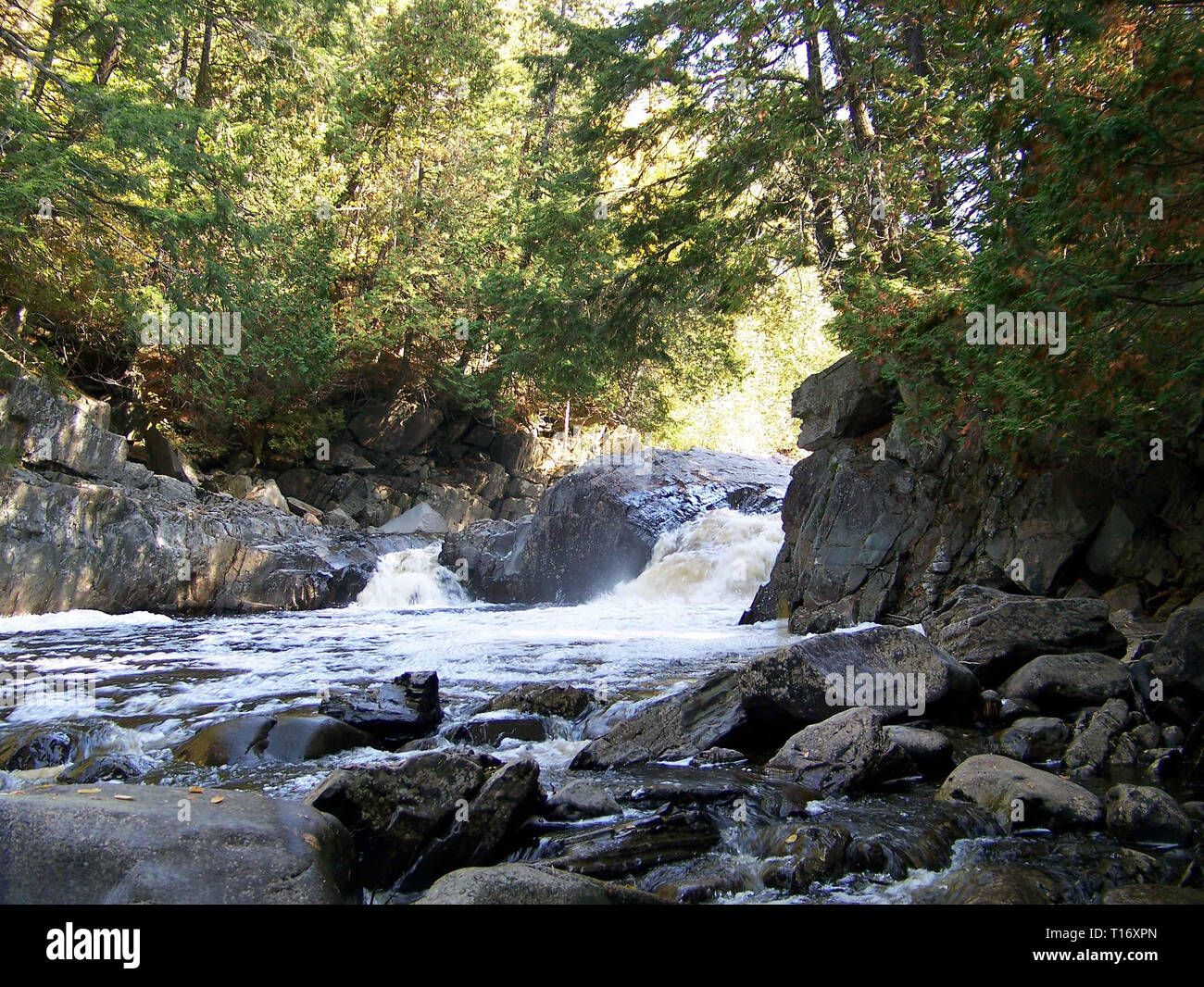 Maine mountain stream with rapids and rocky and tree lined shores flows swiftly through a drop in the river bed as it heads to a larger body of water. - Stock Image