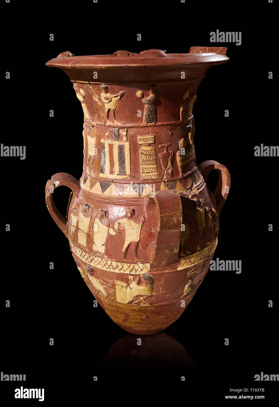Inandik Hittite relief decorated cult libation vase with four decorative friezes featuring figures coloured in cream, red and black. The processional  Stock Photo