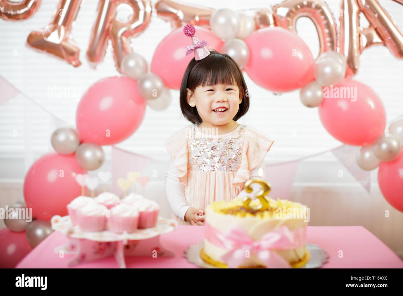 Tremendous Toddler Girl Celebrating Her Third Birthday At Home Stock Photo Birthday Cards Printable Benkemecafe Filternl