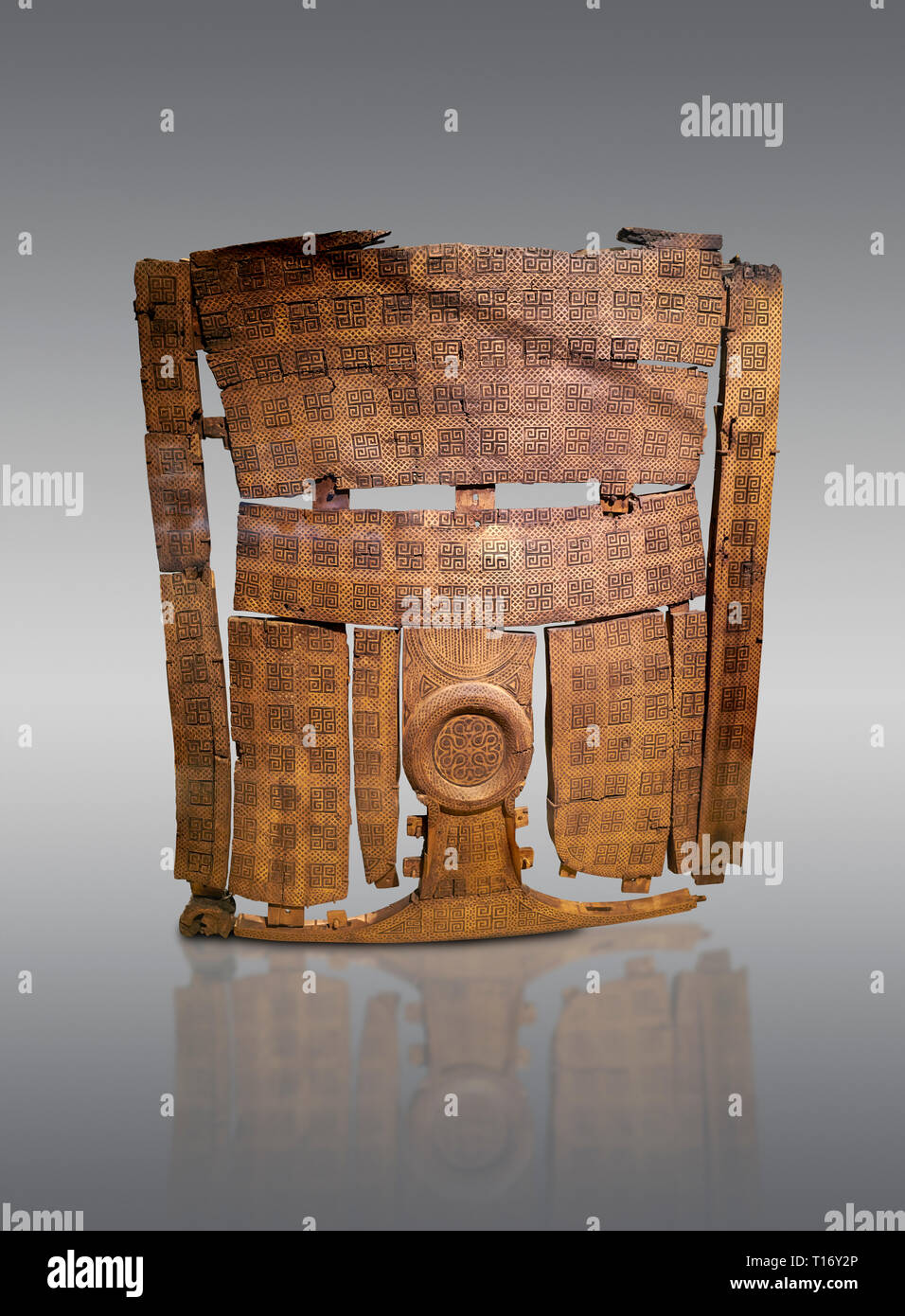 Phrygian inlayed Wooden Screen from the Gordion Great Tumulus. Phrygian Collection, 8th-7th century BC - Museum of Anatolian Civilisations Ankara. Tur Stock Photo