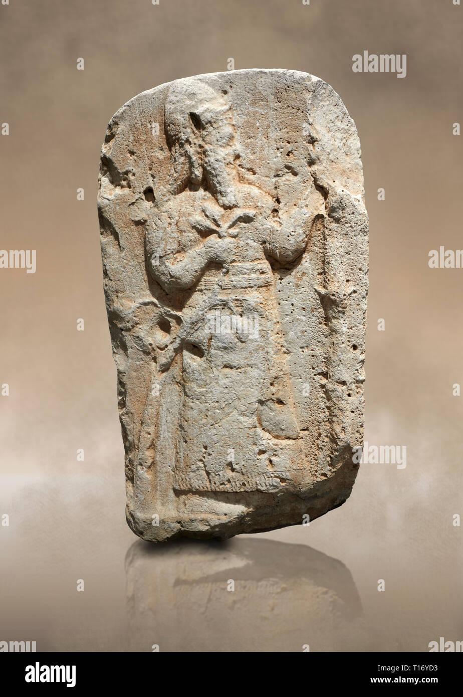 Hittite monumental relief sculpture of a lion. Late Hittite Period - 900-700 BC. Adana Archaeology Museum, Turkey. Stock Photo