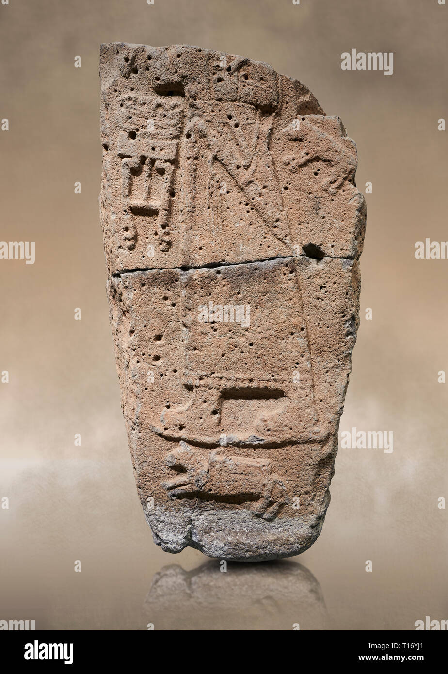 Hittite monumental relief sculpture fragment. Late Hittite Period - 900-700 BC. Adana Archaeology Museum, Turkey. Stock Photo
