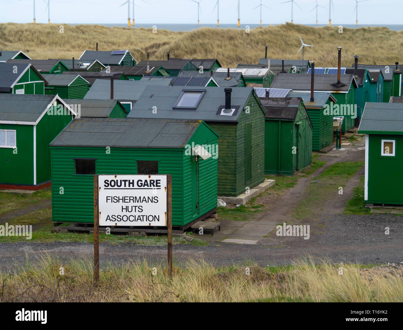Notice South Gare Fisherman's Huts Association at Teesmouth, Redcar England UK England UK Stock Photo