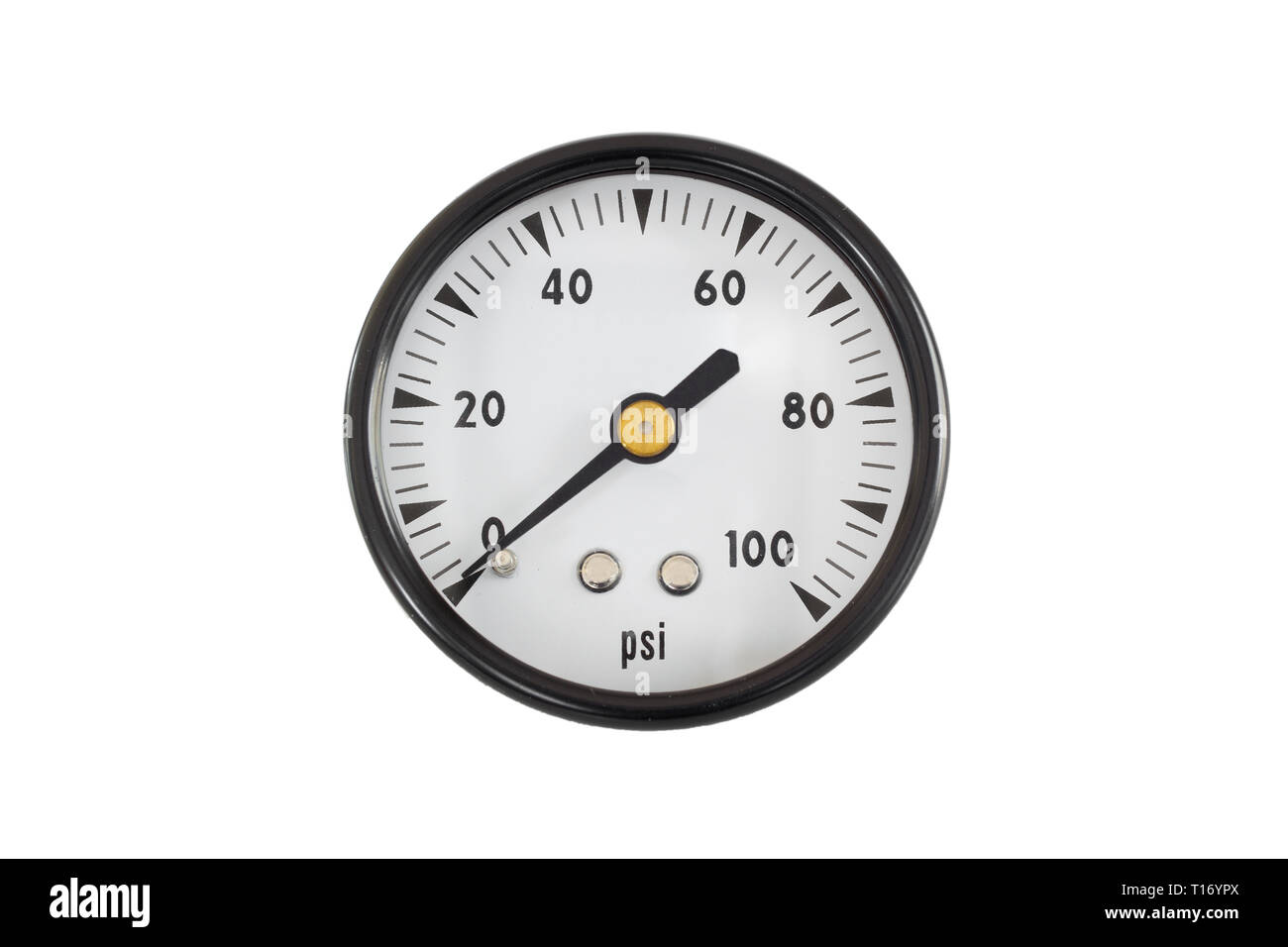 Dial type pressure gauge isolated on white. - Stock Image