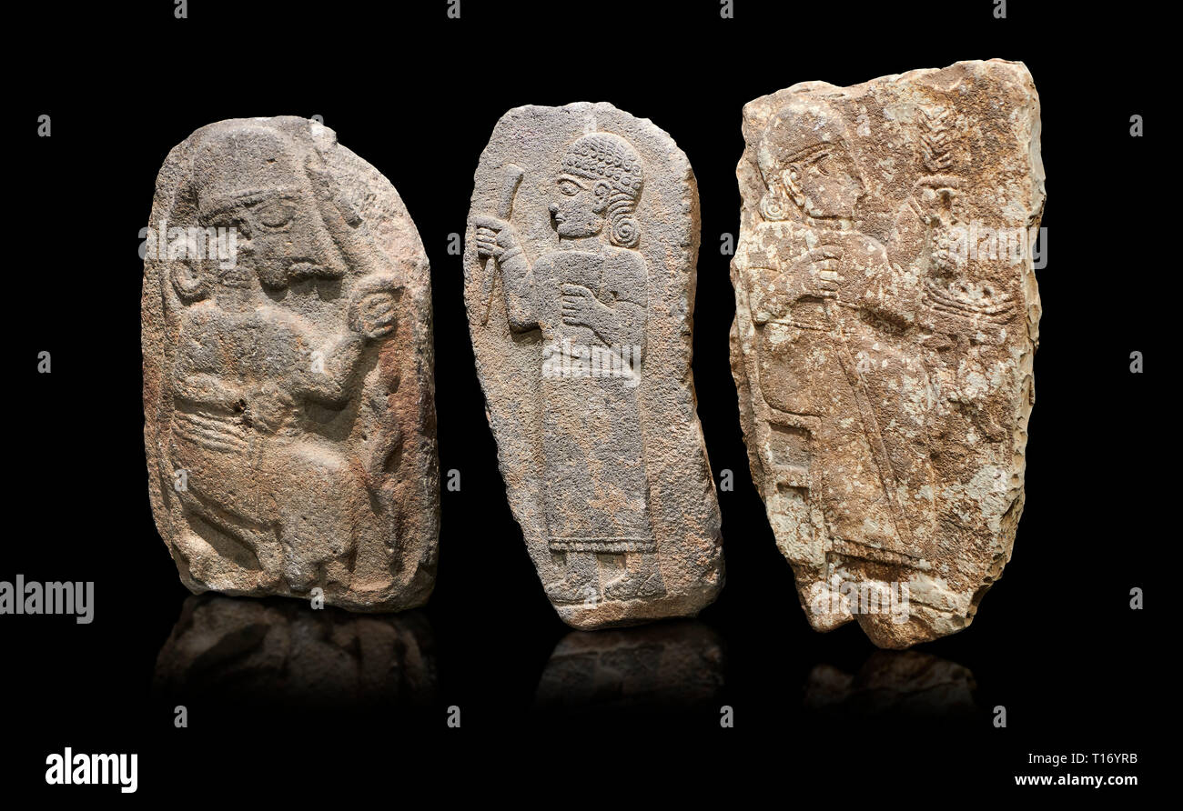 Hittite monumental relief sculptures, 900 - 700 BC, from Adana Archaeology Museum, Turkey. Against a black background Stock Photo