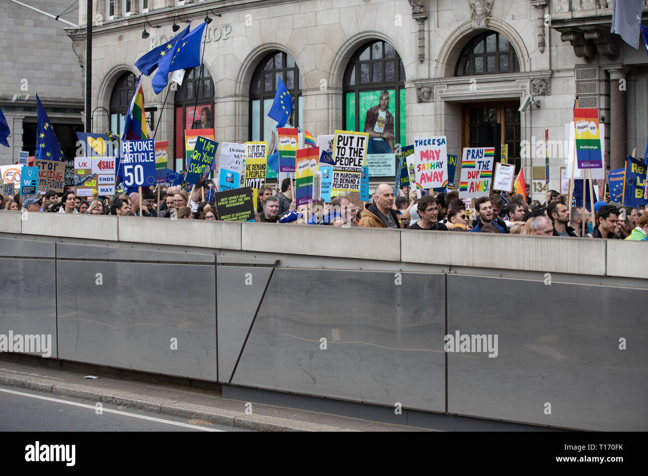 Marchers and placards, People's Vote March, London, England Stock Photo