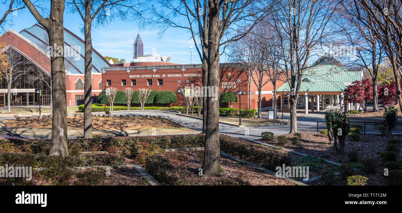 Martin Luther King, Jr. National Historical Park Visitor Center and the new Ebenezer Baptist Church on Auburn Avenue in Atlanta, Georgia. (USA) - Stock Image