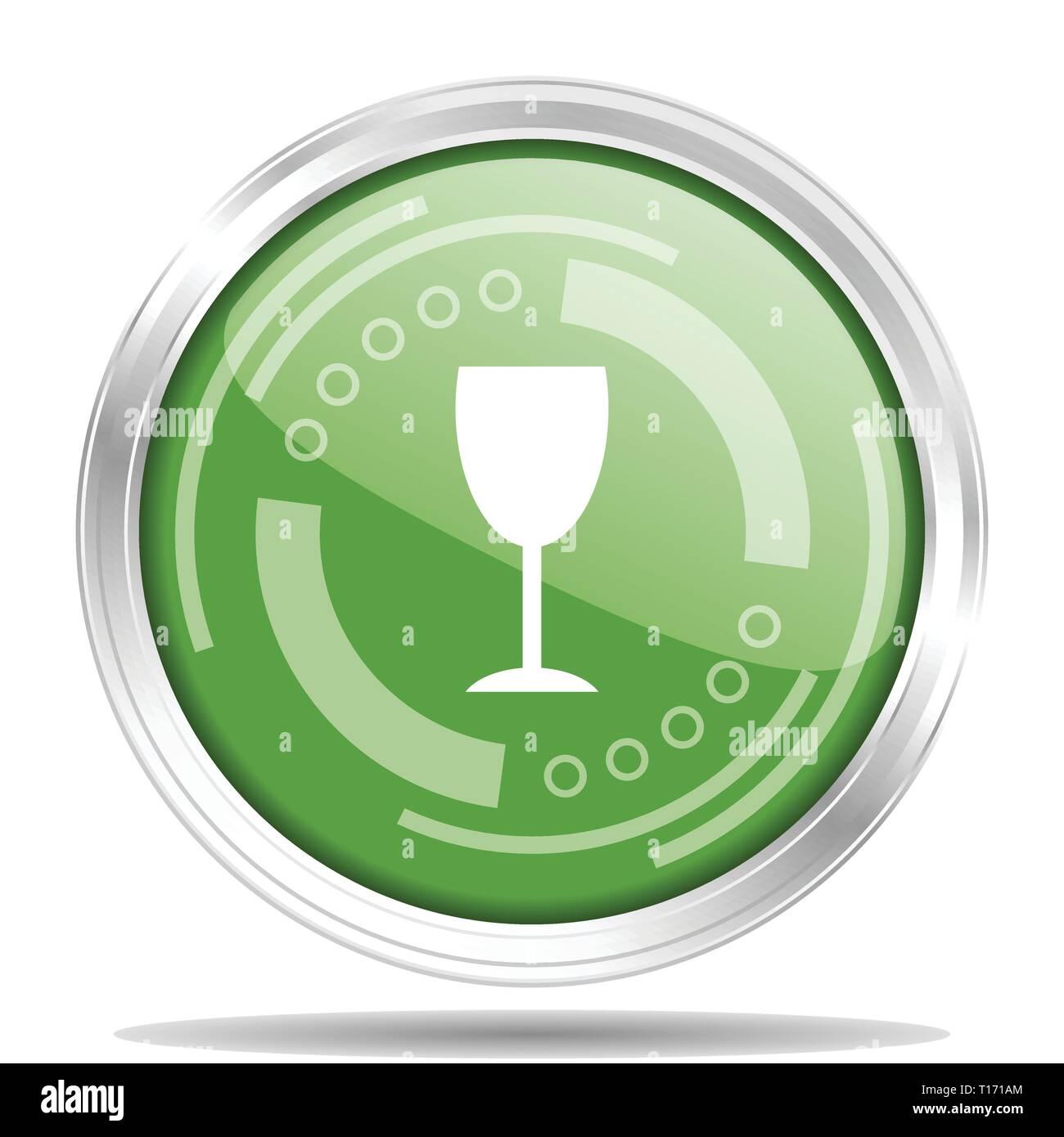 ba87afcc9c0 Alcohol silver metallic chrome border round web icon
