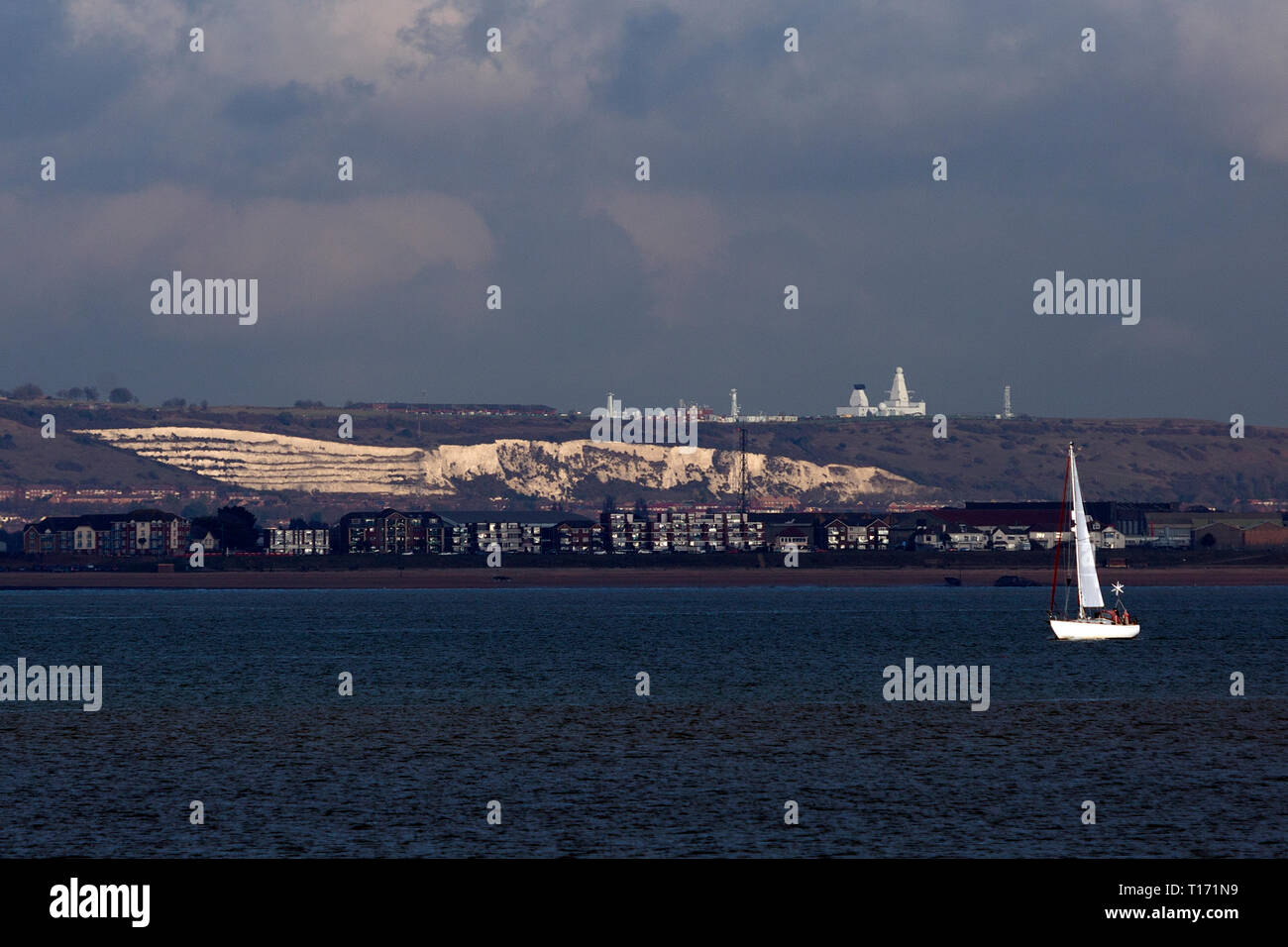 The Solent,Yacht,view.looking,towards,Portsmouth,Buttser,Hill,Hampshire,England,UK, - Stock Image