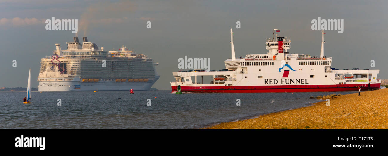 Pollution,Red,Funnel,Car<ferry,Harmony of the Sea, Cruise Liner, ship, Cowes, Isle of Wight, The Solent,leaving,Southampton,Port,Terminal,England, UK, - Stock Image