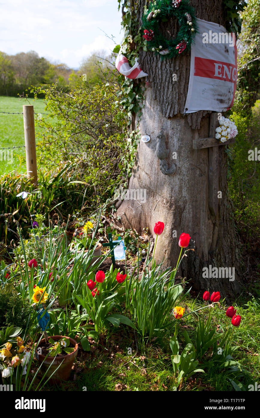 shrine,memorial,to,road,accident,victim,victims,England, - Stock Image