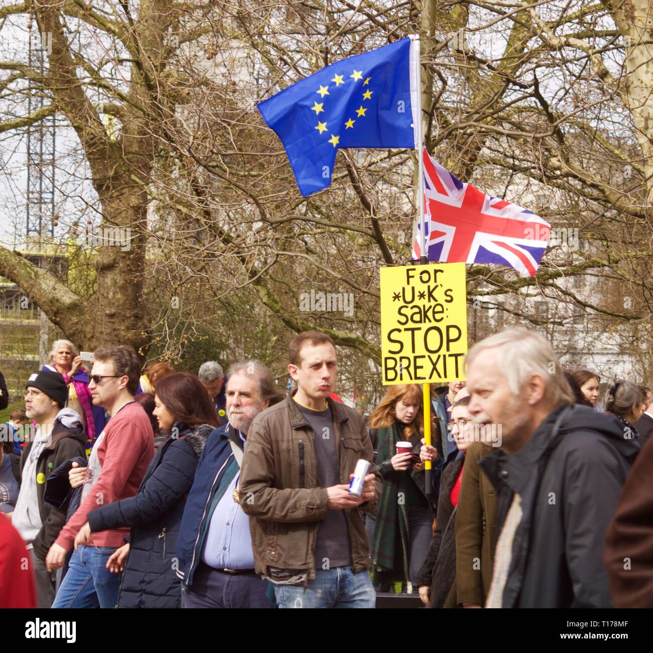 Stop Brexit banner with Union Jack and European flag at Brexit march in London - Stock Image