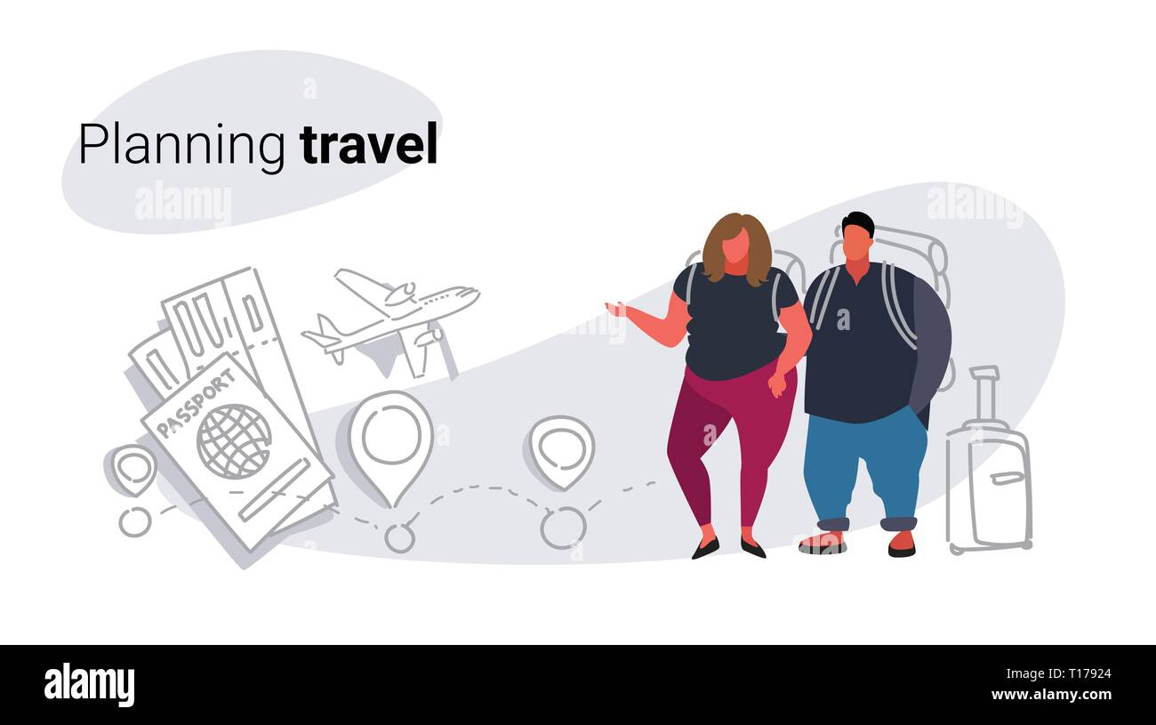 fat obese man woman travelers standing together overweight couple planning travel concept people with baggage choosing hotel and tickets booking - Stock Vector