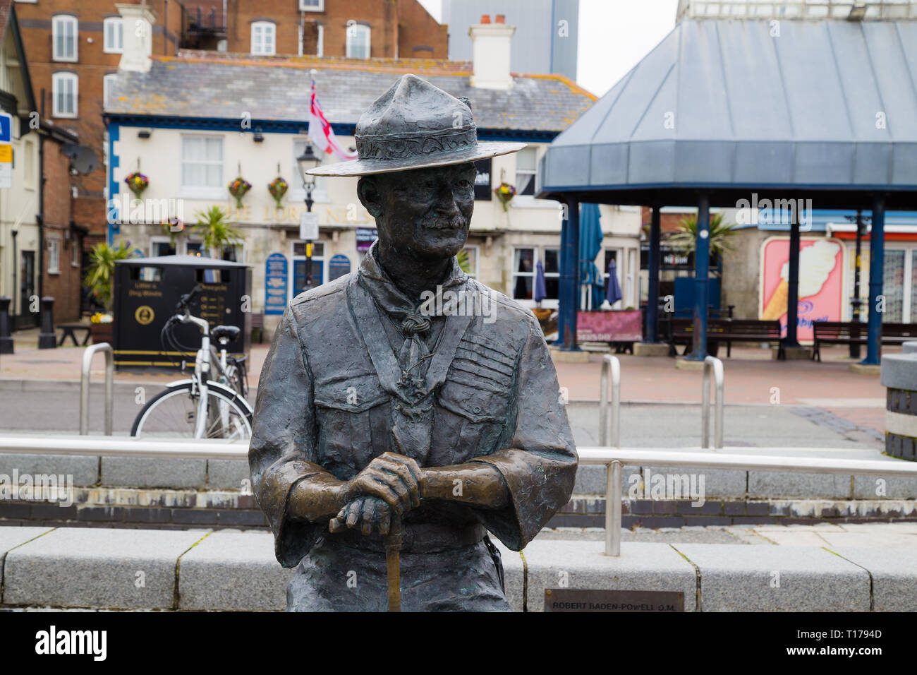 Statue of Robert Baden-Powell, the founder of the Boy Scout movement. - Stock Image