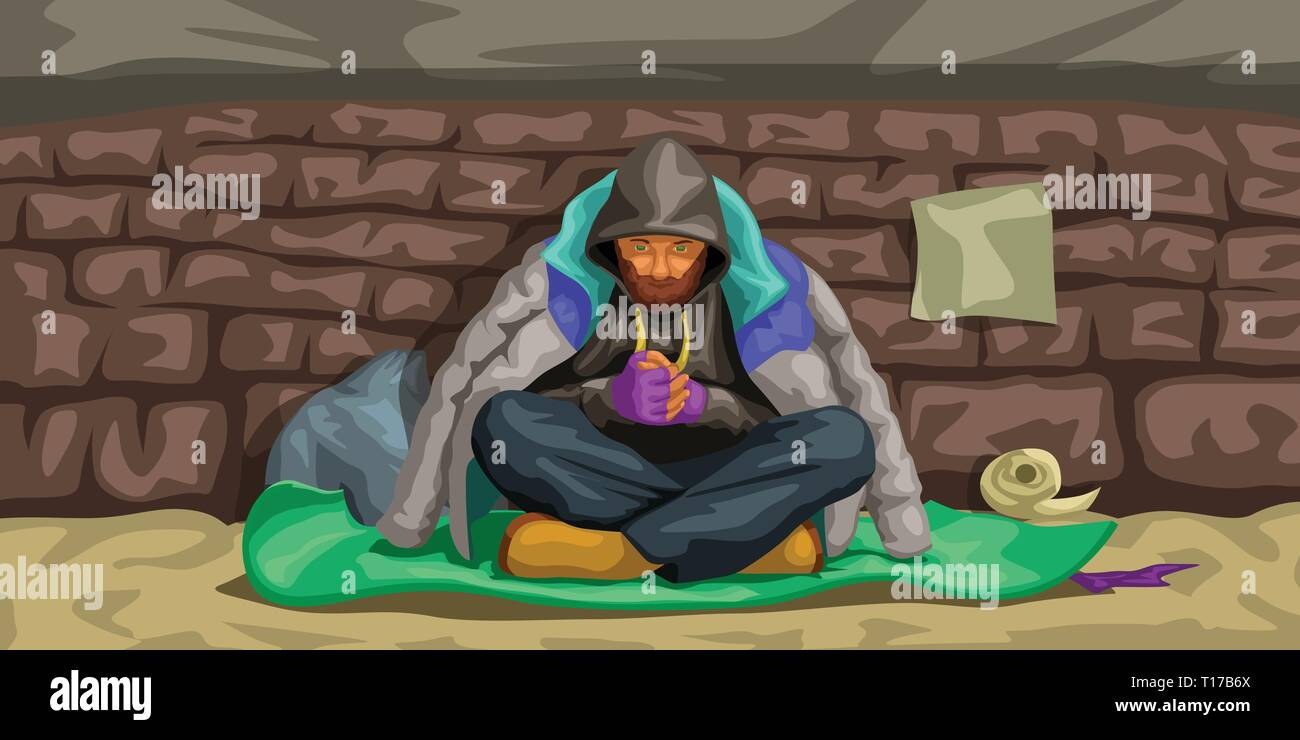 homeless man sitting at wall Stock Vector