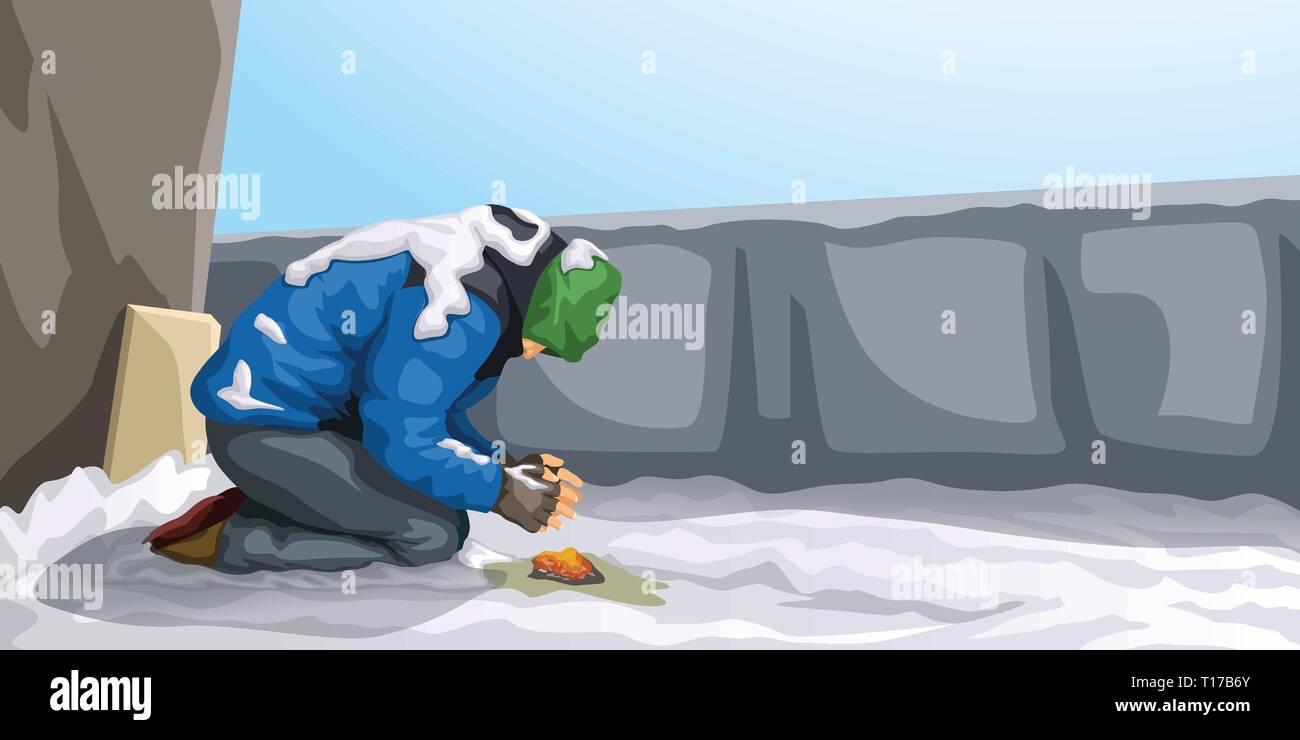 homeless at winter - Stock Vector