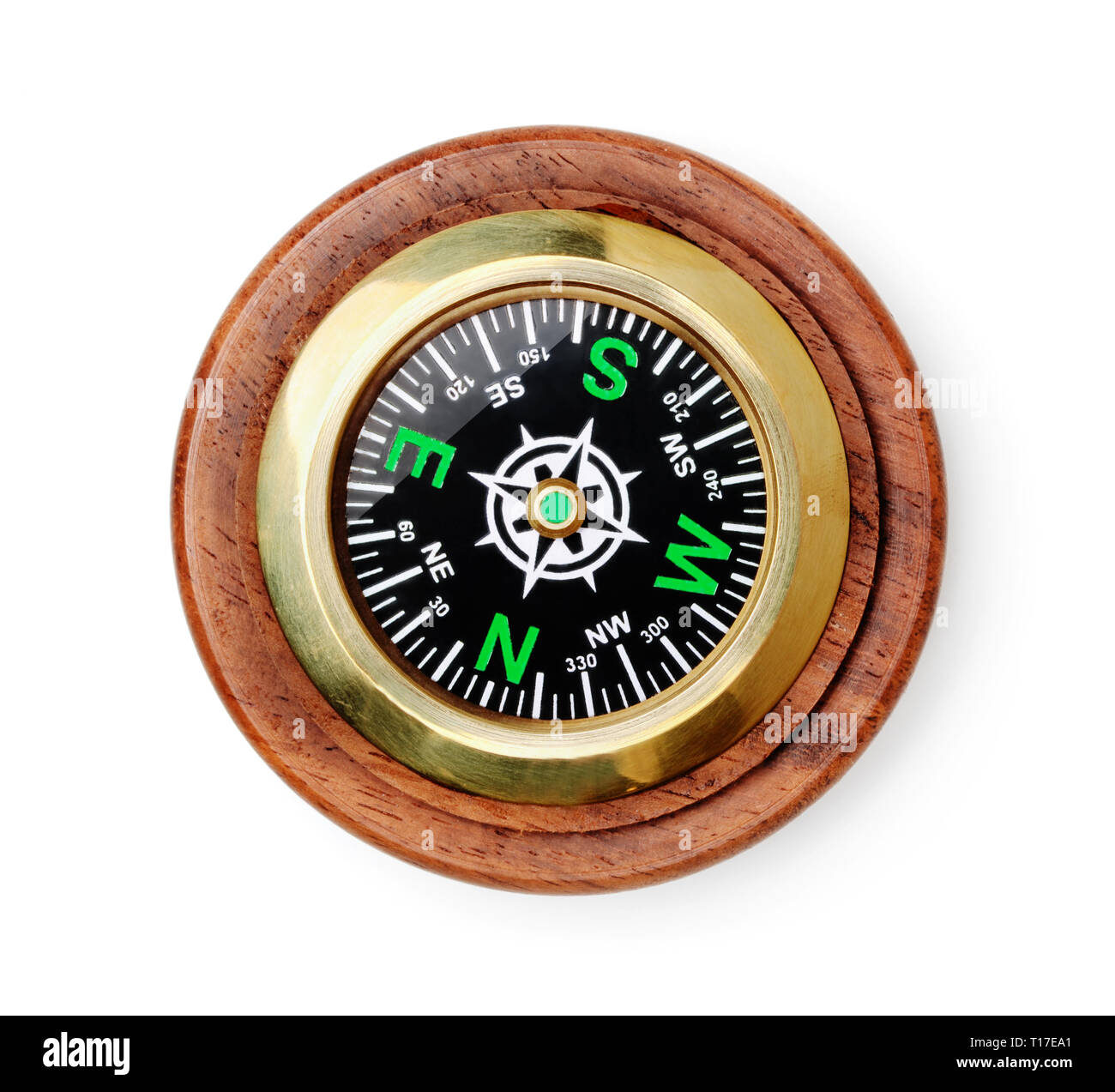 Old style wooden compass top view isolated on white - Stock Image
