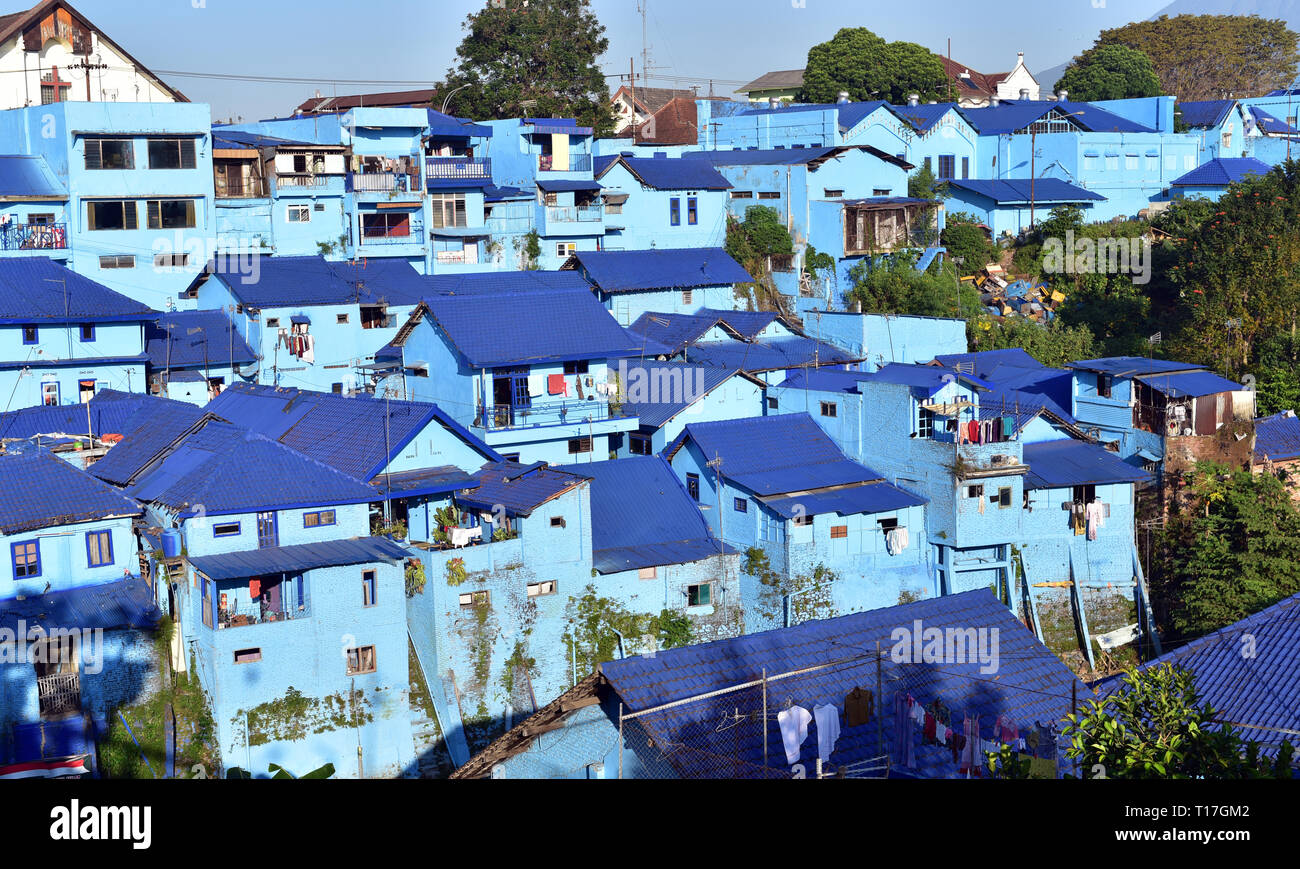 Panoramic View Of Village With Old Houses Painted In Blue Color Malang City Java Island Indonesia Stock Photo Alamy