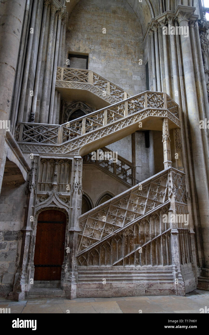 Escalier de la Librairie, booksellers' staircase in the Cathedrale Notre Dame in Rouen, Seine-Maritime, France. - Stock Image