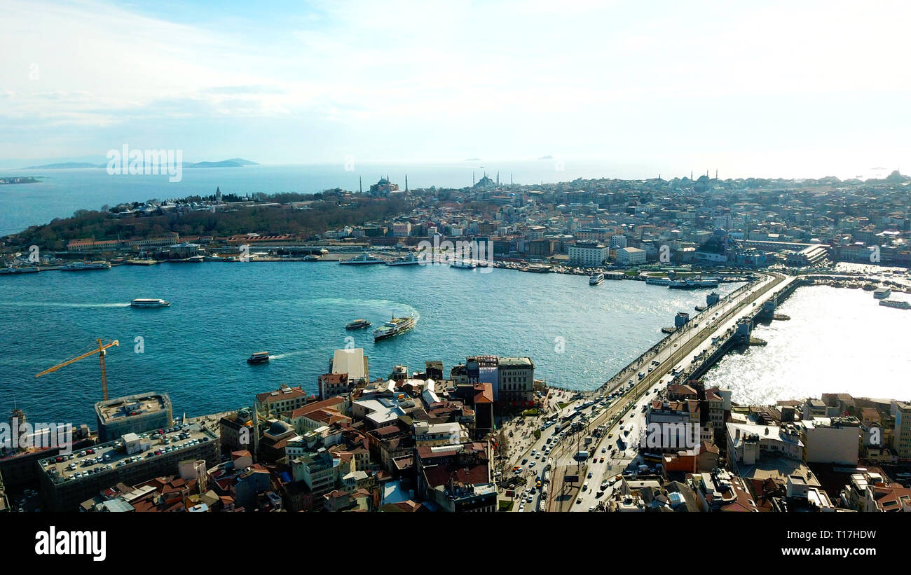 Wonderful panoramic view of Istanbul at dusk across Golden Horn river. Stock Photo