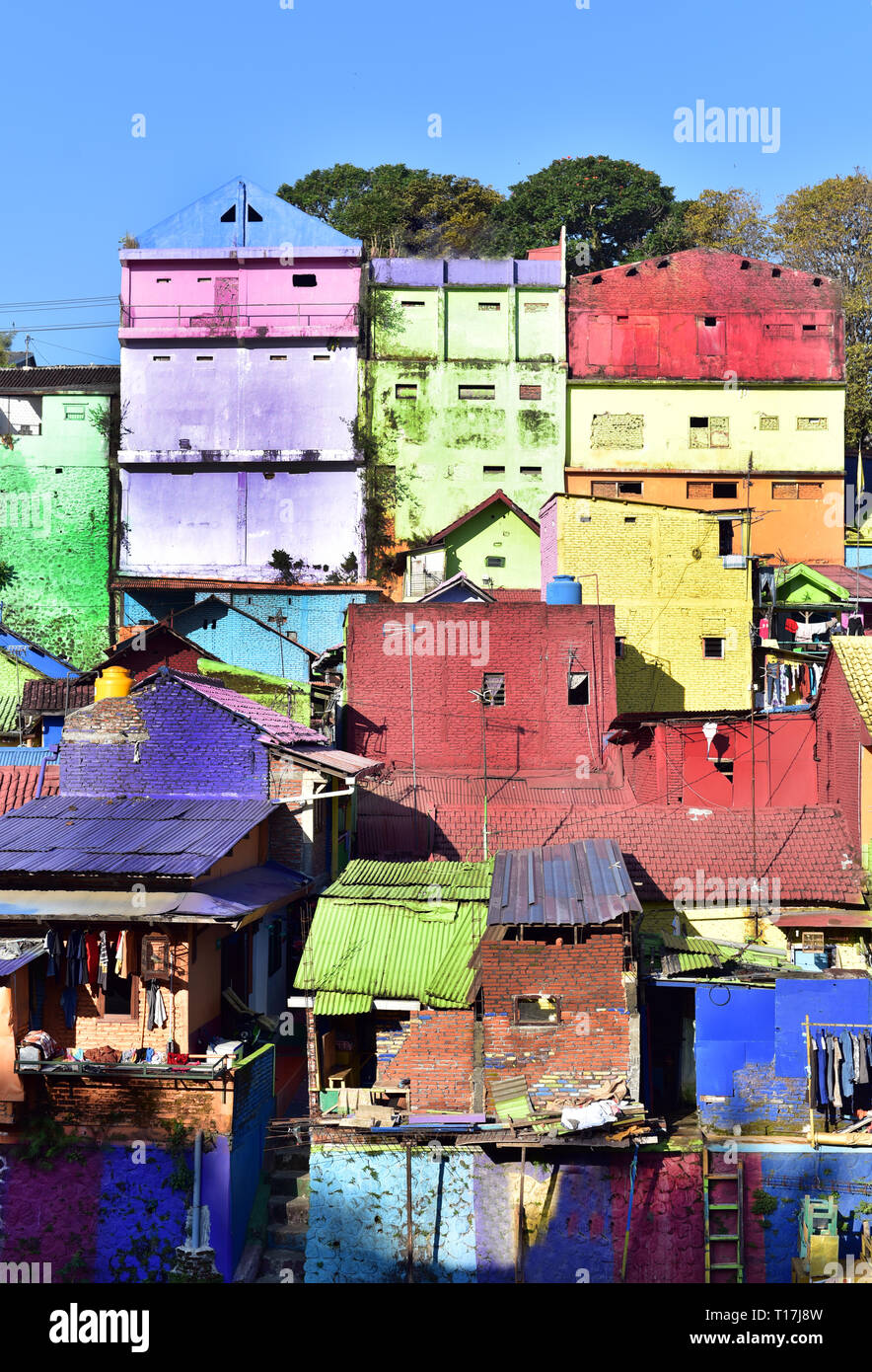 Malang S Colorful Suburb In Malang City Java Island Indonesia Stock Photo Alamy