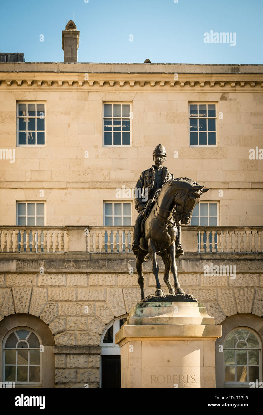 Statue of Lord Roberts, Whitehall, London, UK - Stock Image