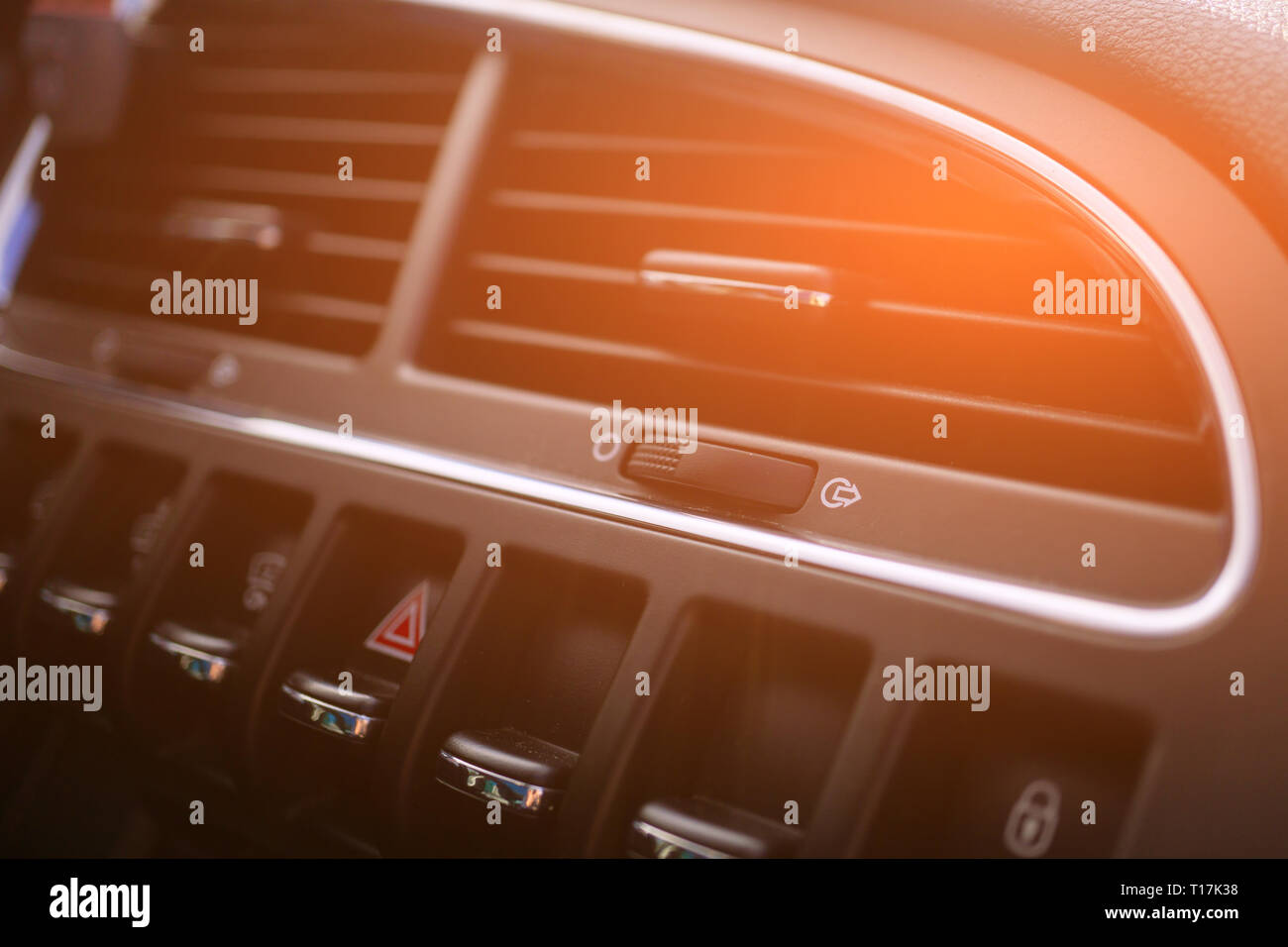 Car conditioner. The air flow inside the car. Detail interior. Air ducts, deflectors on the car panel. - Stock Image