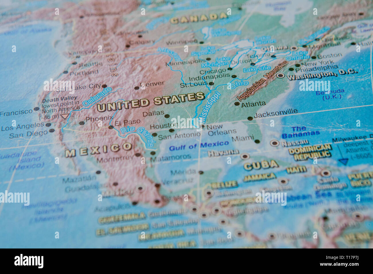 United States In Close Up On The Map Focus On The Name Of Country - Us-map-close-up