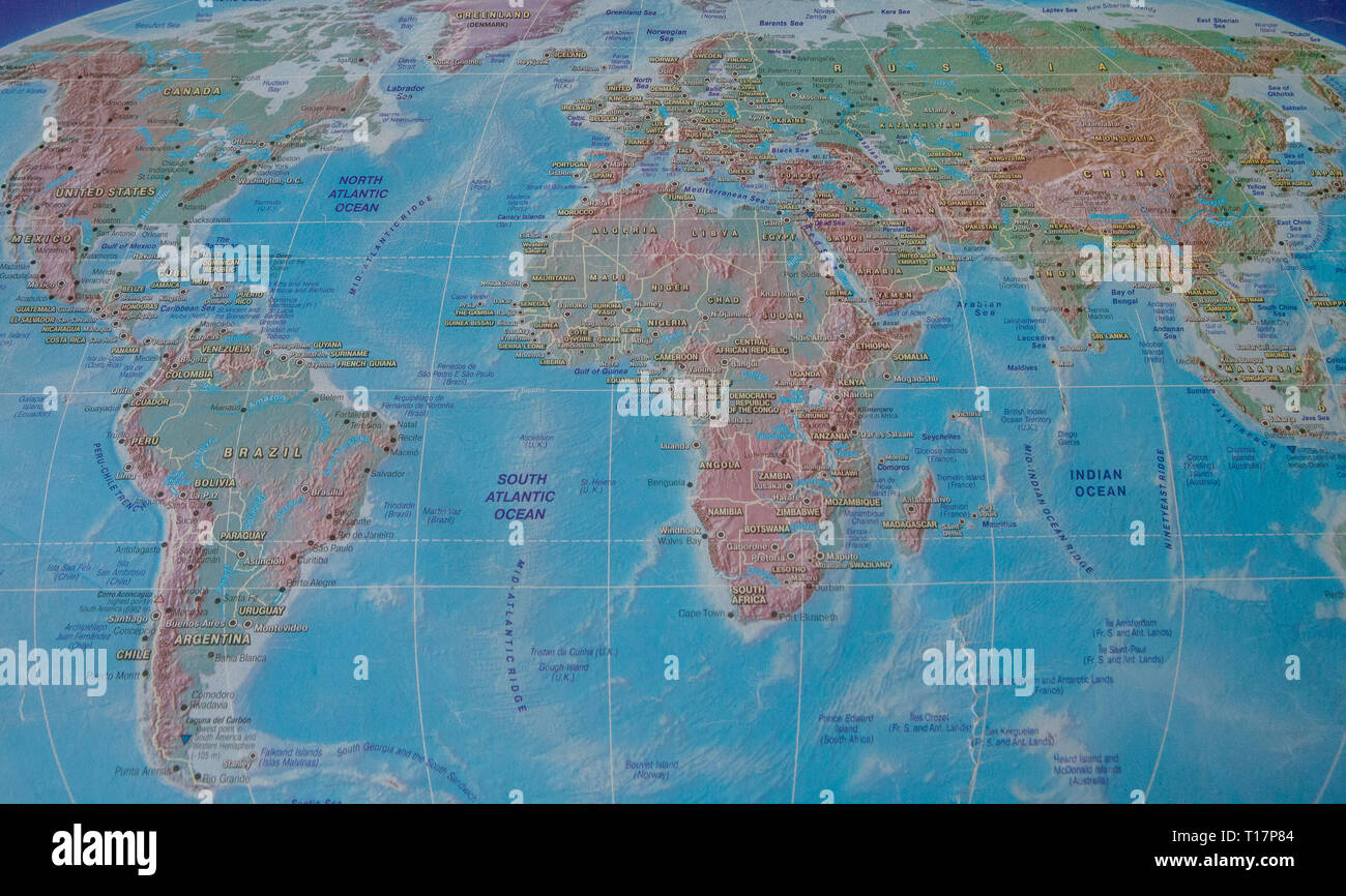 world map with names of countries and cities Stock Photo ...