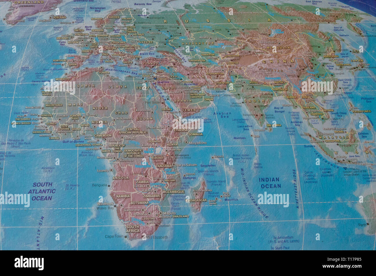 Africa and Eurasia on the map of the world. - Stock Image